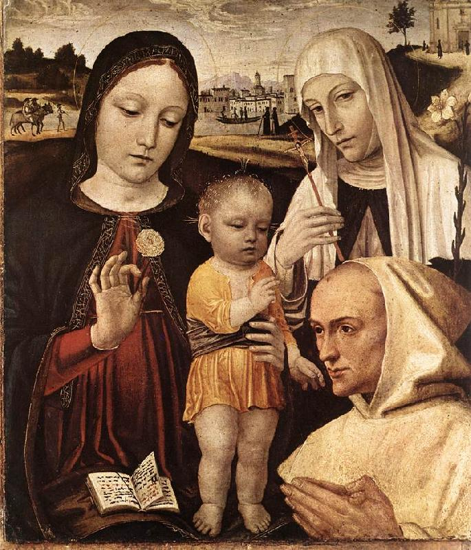 BORGOGNONE, Ambrogio Madonna and Child, St Catherine and the Blessed Stefano Maconi fgtr Sweden oil painting art